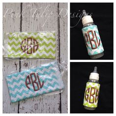 Quilted Monogrammed Baby Bottle Wrap by PinkTulipOfDaphne on Etsy