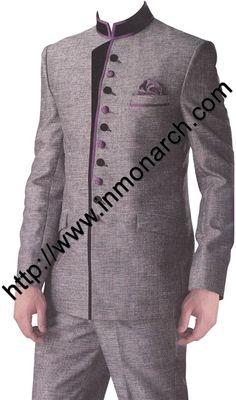 Tempting wedding jodhpuri suit made in grey color linen jute fabric. Indian Men Fashion, Mens Fashion Wear, Suit Fashion, Fashion Outfits, African Clothing For Men, African Shirts, Wedding Outfits For Groom, Wedding Suits, Indian Groom Wear