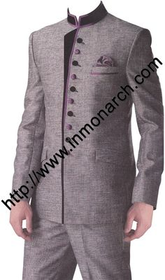 Tempting wedding jodhpuri suit made in grey color linen jute fabric. It has bottom as trouser. Dryclean only.