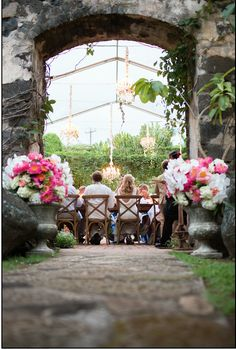Peonies and orchids frame the entrance to the @HaikuMill