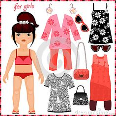 Paper doll with a set of fashion clothes* Google 1500 free paper dolls at The International Society of Paper Dolls by artist Arielle Gabriel for paper doll pals at Pinterest *.