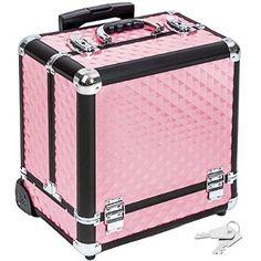 457c982f4 TecTake Maleta aluminio para cosméticos Maletín para maquillaje joyería  Trolley con Varias Divisiones con ruedas rosa