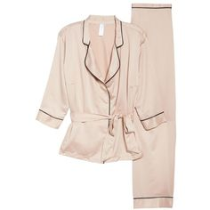 Women's Bluebella Wren Satin Pajamas ($74) ❤ liked on Polyvore featuring intimates, sleepwear, pajamas, pink, satin pjs, satin pyjamas, pink pajamas, satin sleepwear and pink sleepwear