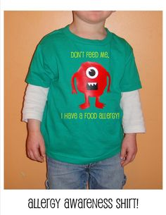 """Monster Shirt, Allergy Awareness TShirt for kids.  """"Don't Feed Me, I Have a Food Allergy""""  www.BabadooDesigns.com"""