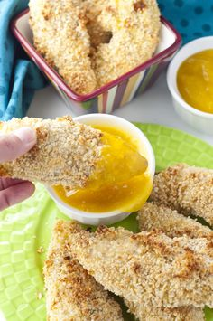 Crispy Almond Coconut Crusted Chicken Tenders with Mango Honey Dip recipe is a…