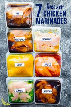 Quick + Healthy Recipes: 7 chicken marinade recipes you can make-ahead and freeze. This post shows you exactly how to marinate chicken breasts to get the BEST flavor, and how to freeze them for easy convenient dinners. Chicken Marinade Recipes, Meat Recipes, Crockpot Recipes, Cooking Recipes, Healthy Recipes, Chicken Fajitas, Chicken Recipes To Freeze, Healthy Chicken Marinades, Overnight Chicken Marinade