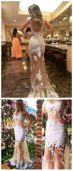 prom dress, 2016 prom dress, mermaid prom dress, 2016 graduation dress, nude tulle with white lace appliques