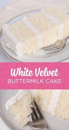 This white velvet buttermilk cake recipe is my FAVORITE cake recipe out of all o., This white velvet buttermilk cake recipe is my FAVORITE cake recipe out of all of them. Yes even better than my famous vanilla cake recipe! The textur. Food Cakes, Baking Cakes, Bread Baking, Baking Soda, Wilton Baking, Snack Cakes, Bundt Cakes, Just Desserts, Delicious Desserts