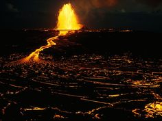 Mauna Ulu Vent  Photograph by Robert Madden    A fountain of lava erupts from the Mauna Ulu vent in Hawaii's Kilauea volcano. Of the state's four active above-water volcanoes, only Kilauea and Mauna Loa have spit lava in the past 200 years.