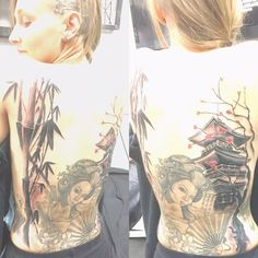 【abligh15】さんのInstagramをピンしています。 《One more day left to complete my full back piece. Today's session was draining and sore 🤕 but loving the progress 🤗 #ouch #progress #tattoo #backpiece #japanese #geisha #bamboo #temple #cherryblossoms #tattoos #perth #wa #girlswithtattoos #pain #nopainnogain #headtattoo #ink #backtattoo》