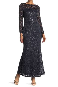 Long Sleeve Lace Gown, Marina Dress, Wedding Wear, Wedding Dresses, Mother Of The Bride Dresses Long, Clothing Sites, African Fashion Dresses, Navy Dress, Sequins