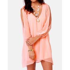 Slit Sleeve Design V-Neck Solid Color Arc-Shaped Hem Women's DressChiffon Dresses | RoseGal.com