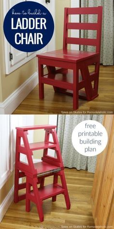 DIY Ladder Chair – A Modern Twist on an American Classic diyproject build woodworkingplans projects remodelaholic 270145677634018489 Diy Furniture Chair, Diy Furniture Plans Wood Projects, Diy Wood Projects, Outdoor Furniture, House Projects, Luxury Furniture, Furniture Makeover, Diy Stool, Stool Chair