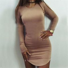 Material: Polyester,Spandex,Cotton Pattern Type: Solid Dresses Length: Above Knee, Mini Size: S / M / L / XL/ XXL Name: bodycon dress