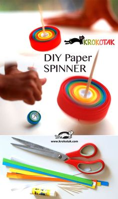 DIY Paper SPINNER Paper Spinners, Fidget Spinners, Diy Crafts For Kids, Paper Crafts Kids, Craft Activities For Kids, Summer Crafts, Diy Paper, Diy Craft Projects, Fun Crafts