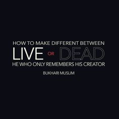 He who remembers his lord and who does not are like the living and dead - Bukhari Muslim