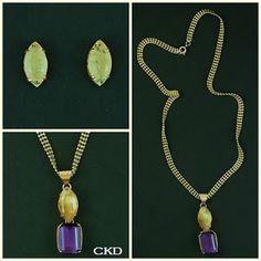 Brincos e colar com cristal de inclusão e ametista! www.ckdsemijoias.com.br