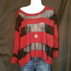 Selling this Guess Sheer Striped Sweater in my Poshmark closet! My username is: dreamcatcher088. #shopmycloset #poshmark #fashion #shopping #style #forsale #Guess #Sweaters