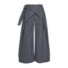 PAPER London Striped Cat Wrap Trousers ($395) ❤ liked on Polyvore featuring pants, stripe, striped pants, high-waisted trousers, high rise pants, high-waisted pants and high-waist trousers