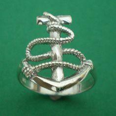 Nautical Bridesmaid Anchor Silver Ring Size US 3  14 by yhtanaff, $22.00