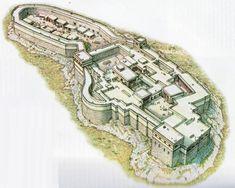 Bronze age Mycenaean acropolis of Tiryns, reconstruction.