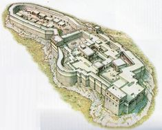 Bronze age Mycenaean acropolis of Tiryns, reconstruction.