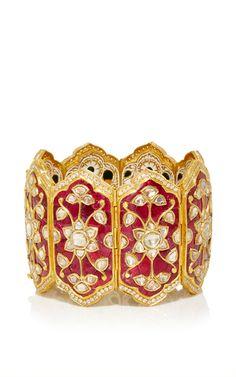 Royal Ruby Mosaic Bracelet by Sanjay Kasliwal Pakistani Jewelry, Indian Wedding Jewelry, Bridal Jewelry, Antique Jewellery Designs, Antique Jewelry, Jewelry Design, India Jewelry, Fine Jewelry, Gold Jewelry