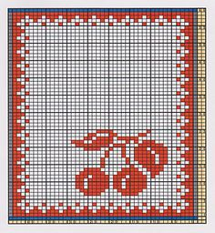 Here I offer only the chart pattern for a potholder. I am assuming that you are familiar with the double-faced knitting technique too. Knitting Charts, Easy Knitting, Double Knitting, Crochet Chart, Filet Crochet, Beaded Cross Stitch, Cross Stitch Patterns, Beading Patterns, Crochet Patterns