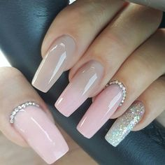 Flawless acrylic nails by tammy taylor nails south-africa www Sparkly Acrylic Nails, Coffin Nails Glitter, Natural Acrylic Nails, Square Acrylic Nails, Almond Acrylic Nails, Gold Nails, Acrylic Nail Designs, Oval Nails, Orange Nail Designs