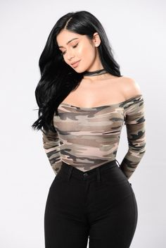 Available in Camo Off Shoulder Bodysuit Long Sleeve Attached Choker Cheeky Bottom Snap Button Bottom Made in USA Polyester Spandex Sexy Bikini, Sexy Outfits, Cute Outfits, Janet Guzman, Looks Vintage, Fashion Dresses, Womens Fashion, Clothes, Style