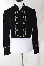 Double D Ranch SMALL Black Velvet and Pewter Stud Cropped Western Dressy Jacket