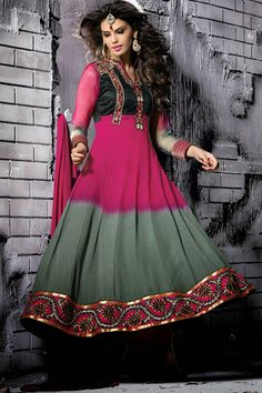 Double Shade Pink And Grey Anarkali Suit