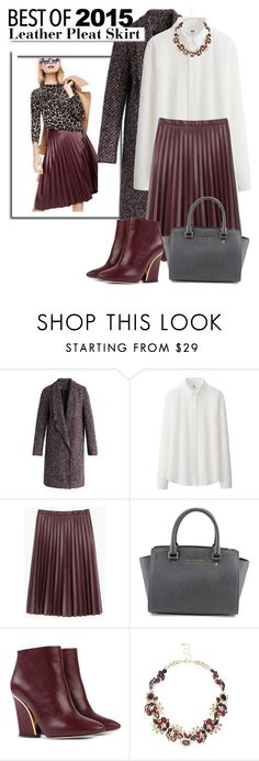 """The Hottest Trend of 2015: Leather Pleat Skirt..."" by glamorous09 ❤ liked on Polyvore featuring Chicwish, Uniqlo, J.Crew, MICHAEL Michael Kors, Chloé, White Label, River Island and bestof2015"