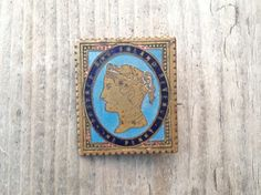 Stamp Brooch Victorian  Pin Brooch Antique Penny lilac stamp