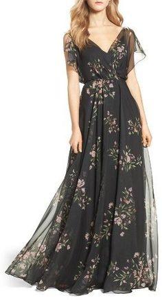 Women's Jenny Yoo Cassie Flutter Sleeve Surplice Gown