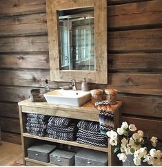 Mountain Cottage, Cabin Interiors, Cabins In The Woods, Double Vanity, New Homes, House Design, Bathroom, Cabin Ideas, Decor