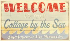 Vintage Beach Signs, Jacksonville Beach, Cottages By The Sea, Coastal, Decorating, Decor, Decoration, Dekoration, Decorations