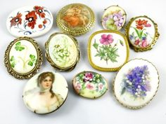 shopgoodwill.com: 10 Vintage Porcelain/Ceramic Hand Painted Pins Sold for $77