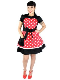 """Minnie Mouse Polkadot"" Two-Tier Apron by Hemet (Red) #InkedShop #InkedMag #Minnie #Mouse #Polka #Dot #Apron #Red"