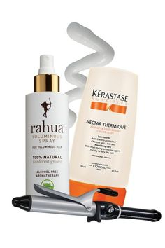 "BEST HAIR IN AMERICA 2012: PRO PICKS: The alcohol-free formula of Rahua Voluminous Spray creates bombshell body without drying out strands; coat wet hair in Kérastase Nectar Thermique. The leave-in conditioner protects against heat damage for the softest, shiniest waves; Atkin favors the T3 11/4-inch Tourmaline Curling Iron and uses her fingers ""to loosen curls for longer hold."""