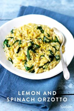 Lemon and Spinach Orzotto via @PureWow