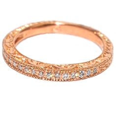 14 kt Diamond Rose Gold Vintage Antique Hand Engraved Milgrain Style Wedding Band . .19 Total Carat Weight for only $550 ! only at Windy City Diamond. #  W090118   #rosegold #14kt #gold #WB #wedding #band #ring #weddingband  #windycitydiamonds