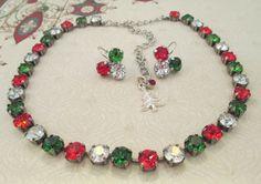 Swarovski crystal necklace, TRADITIONAL CHRISTMAS MEMORIES. , christmas colors, designer inspired. dksjewelrydesigns