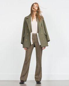 Fall looks- Wide leg trousers and short wool peacoat- ZARA United States