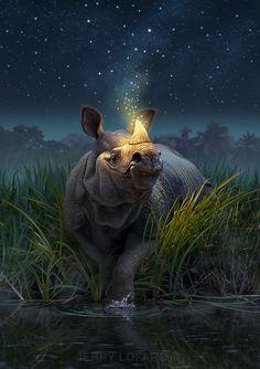 Rhino Art Print featuring the painting Rhinoceros Unicornis by Jerry LoFaro Bizarre Kunst, Bizarre Art, Canvas Art, Canvas Prints, Art Prints, Illustrations, Illustration Art, Fine Art Amerika, Rhino Art