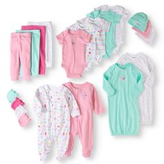 Newborn Baby Girl 20 Piece Layette Baby Shower Gift Set Colorful Infant Kid New Baby Outfits Newborn, Baby Girl Newborn, Baby Girls, Baby Layette, Girls Toys, Baby Gown, Baby Gift Sets, Outfit Sets, Baby Shower Gifts