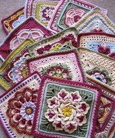 Crochet Granny Square Patterns Ravelry: dakotastamper's William Morris Swap (Pattern link for each square listed) - Crochet Squares Afghan, Crochet Quilt, Crochet Blocks, Knit Or Crochet, Crochet Crafts, Crochet Projects, Granny Squares, Granny Granny, Ravelry Crochet