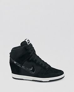 Nike Lace Up High Top Wedge Sneakers - Women's Dunk Sky Hi Essential- size 8  black