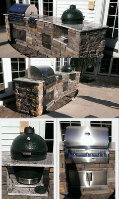 Custom outdoor kitchen with Firemagic gas grill and Big Green Egg built-in