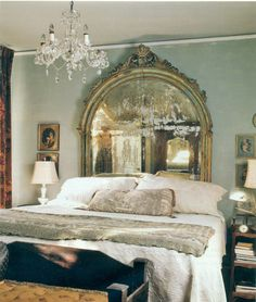 Just a wonderful faded mirror behind the bed. Grey blue walls and wonderful bedding, makes just  a perfect bedroom. Details~~~~~
